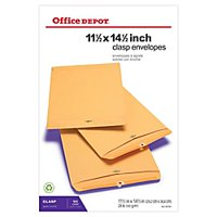 "Office Depot® Brand Clasp Envelopes, 11 1/2"" x 14 1/2"", Brown, Box Of 100"