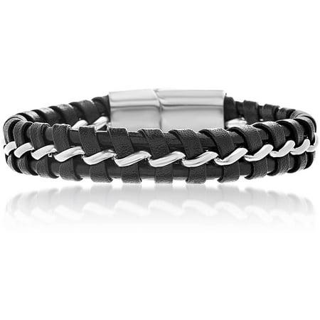 Men's Black Leather Magnetic Bracelet in Stainless Steel