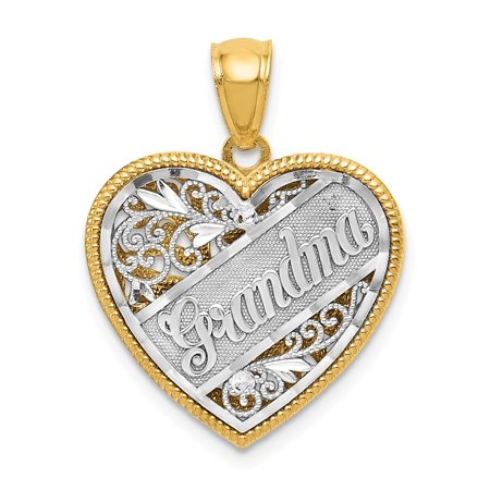 14k Two-Tone Gold Reversible Grandma Heart Pendant - Measures 34.4x35.4mm