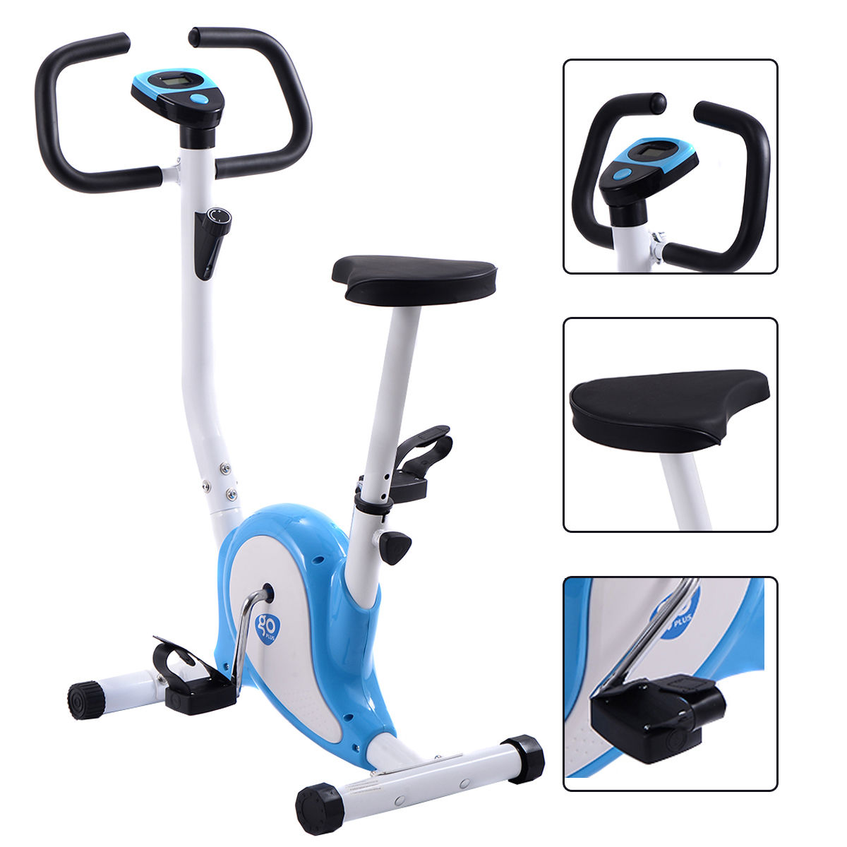 Goplus Exercise Bike Stationary Cycling Fitness Cardio Aerobic Equipment Gym Blue by Costway