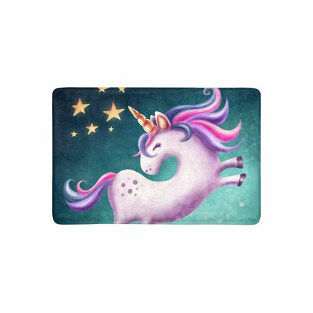 Mkhert Cute Unicorn Doormat Rug Home Decor Floor Mat Bath
