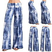 MIARHB Woman Casual Yoga Print Comfort Sports Hips High Waist Thread Palazzo Pants