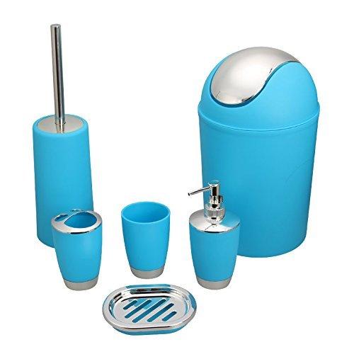 6 Piece Plastic Bathroom Accessory Set