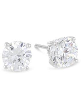14k White Gold 1/4 Carat 4 Prong Solitaire Diamond Stud Earrings.