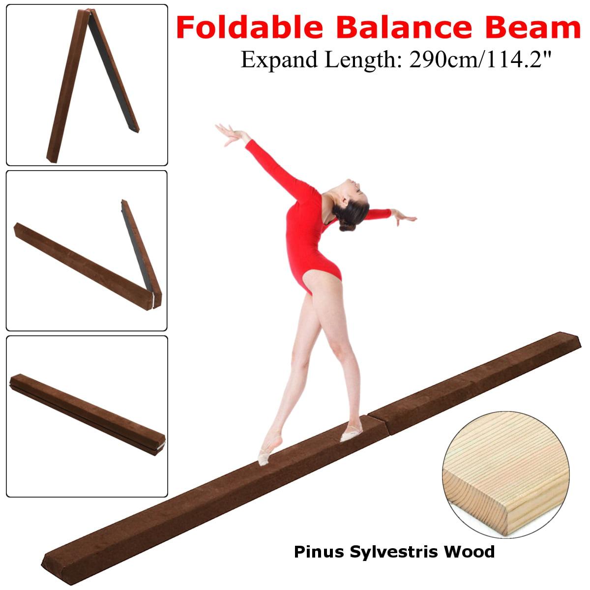 9.5' Foldable Gymnastics Balance Beam, Sectional Floor Gymnastics Bar with Anti-Slip Base, for Junior Kids Home Gym... by