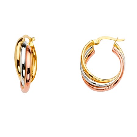 FB Jewels 14K White Yellow And Rose Gold Three Line Twisted Hoop Womens Earrings 22MM X 18MM