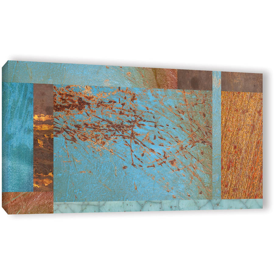 "ArtWall Cora Niele ""Blue Brown Collage"" Gallery-Wrapped Canvas"