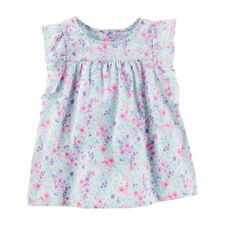 OshKosh B'gosh Baby Girls' Floral Flutter Sleeve Top, 18 Months