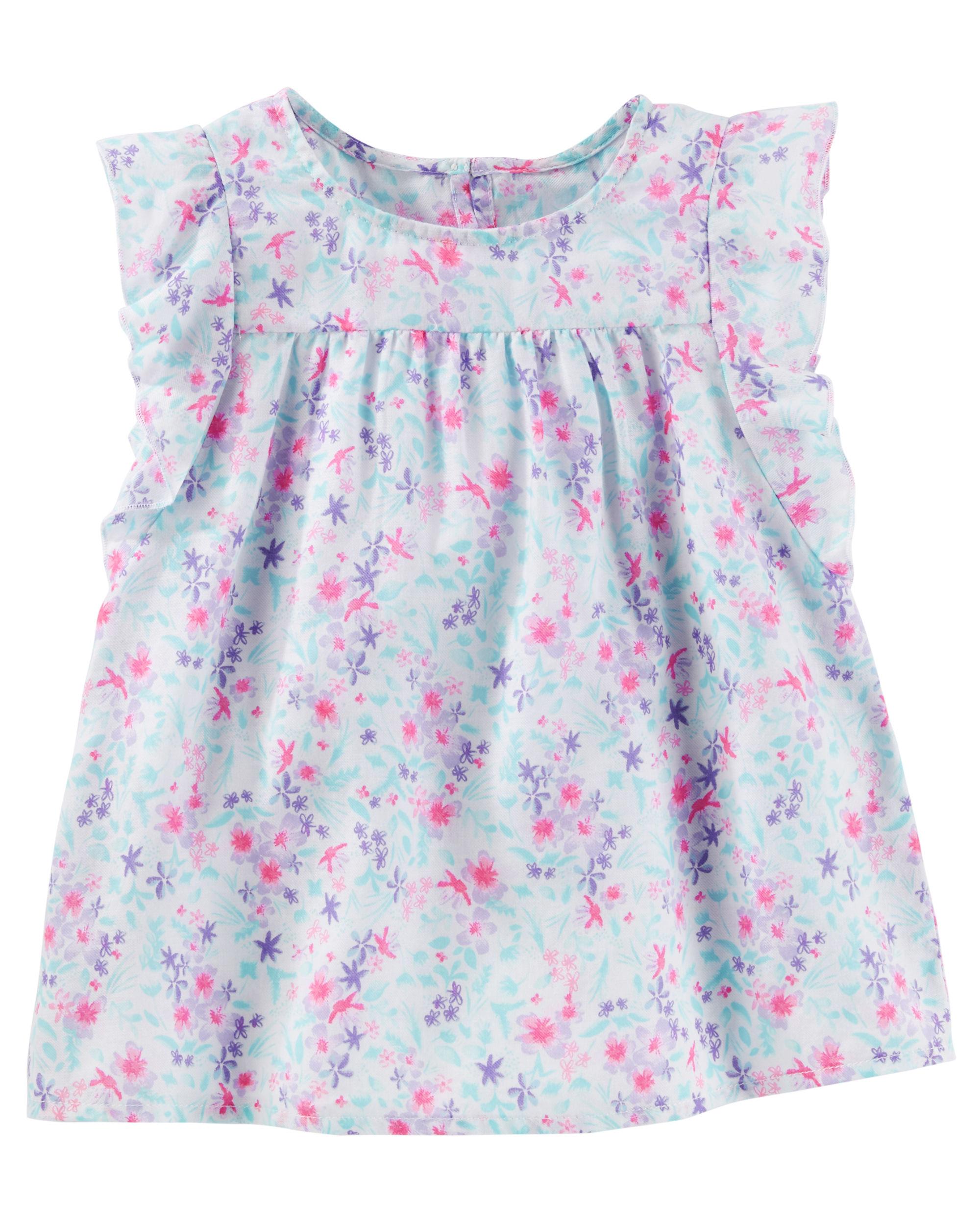 Oshkosh B'gosh Little Girls' Floral Flutter Sleeve Top, 2-Toddler