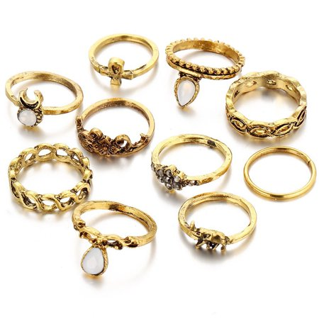 10pcs/set Joint Rings Set Bohemian Ring Joints Ten Suits Baby Elephant Rings ()