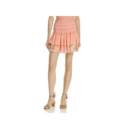 Rahi Cali Womens Embroidered Smocked Tiered Skirt