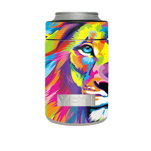 Skin Decal For Yeti Rambler Colster Cup / Colorful Lion Abstract Paint