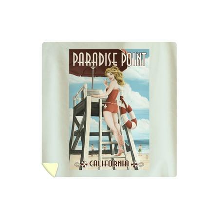 Paradise Point, California - Lifeguard Pinup - Lantern Press Artwork (88x88 Queen Microfiber Duvet Cover)