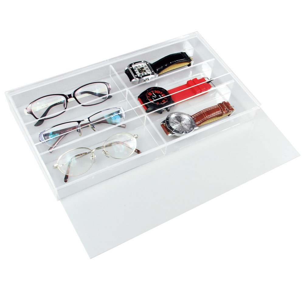 Ikee Design  Acrylic 13 1/2 x 7 1/2 x 2 1/8 Eyewear and Watch Case with Slide-out Lid
