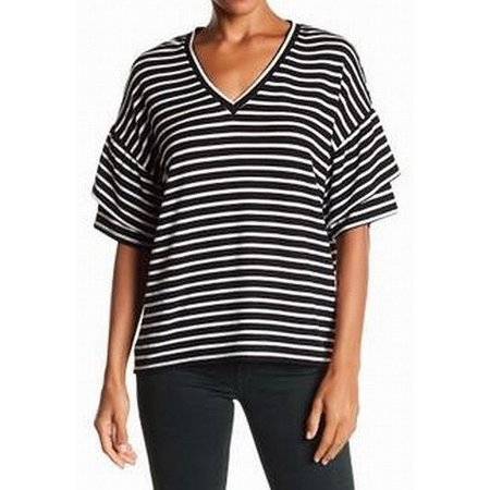 - H By Bordeaux Womens Medium V-Neck Striped Knit Top