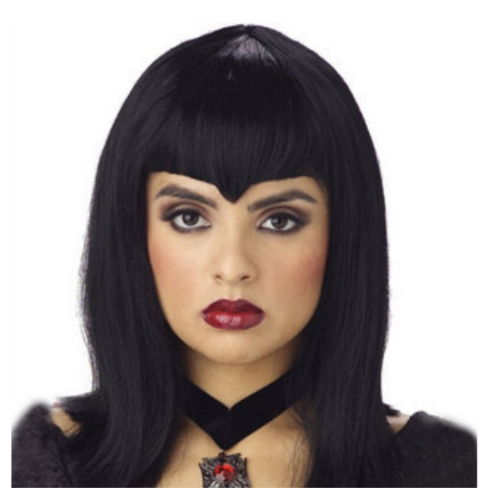 California Costume Womens Black Vamp Wig Vampire Hair with Widows Peak