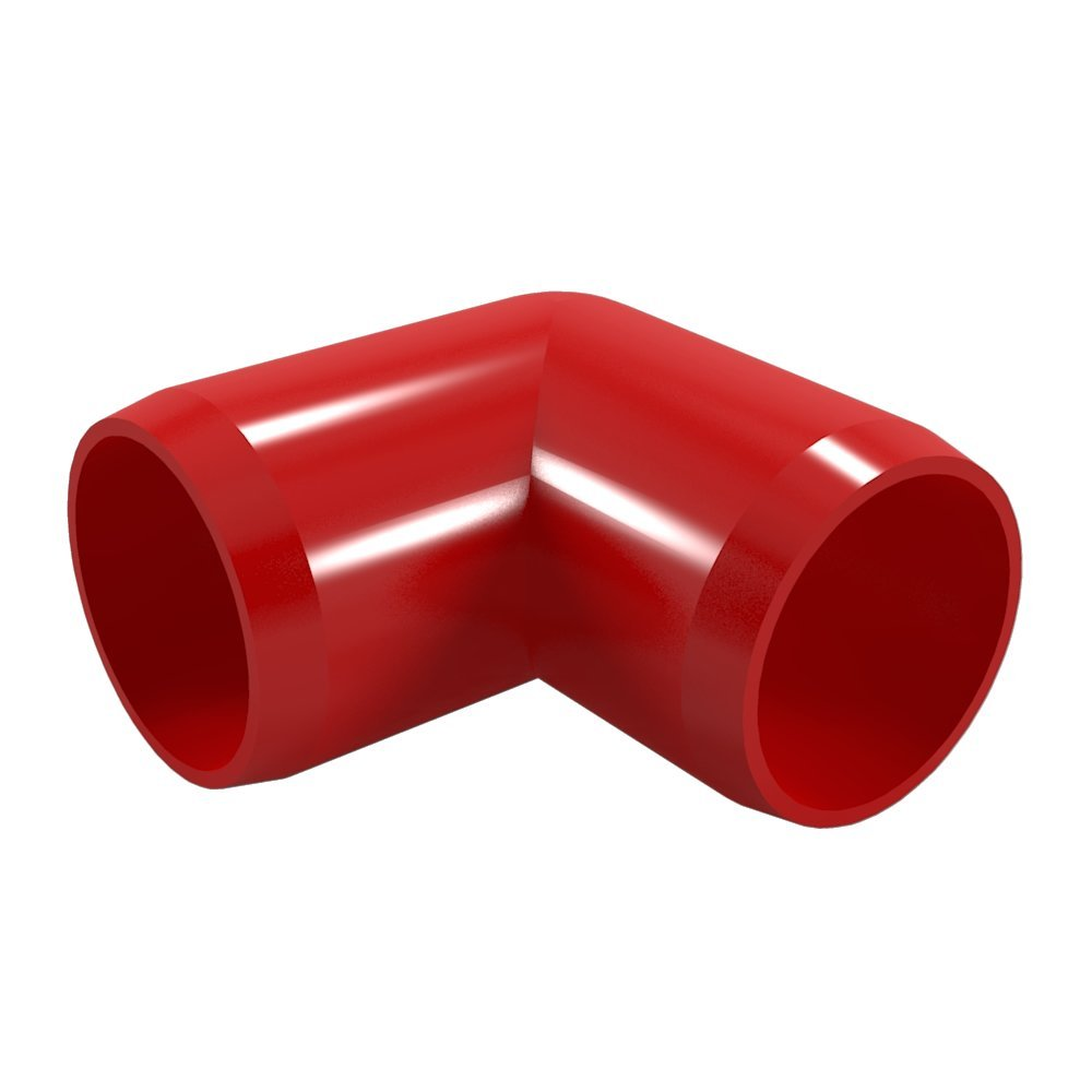 "FORMUFIT F00190E-RD-4 90 degree Elbow PVC Fitting, Furniture Grade, 1"" Size, Red, 4-Pack"