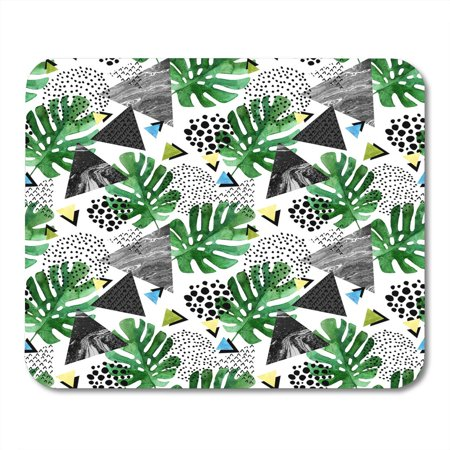 KDAGR Abstract with Watercolor Tropical Leaves and Triangles with Marble Grunge Geometric in 80S 90S Pop Style Mousepad Mouse Pad Mouse Mat 9x10 inch for $<!---->
