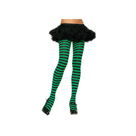 Leg Avenue Women's Nylon Striped Tights, Black/Purple, One Size - Halloween Striped Tights
