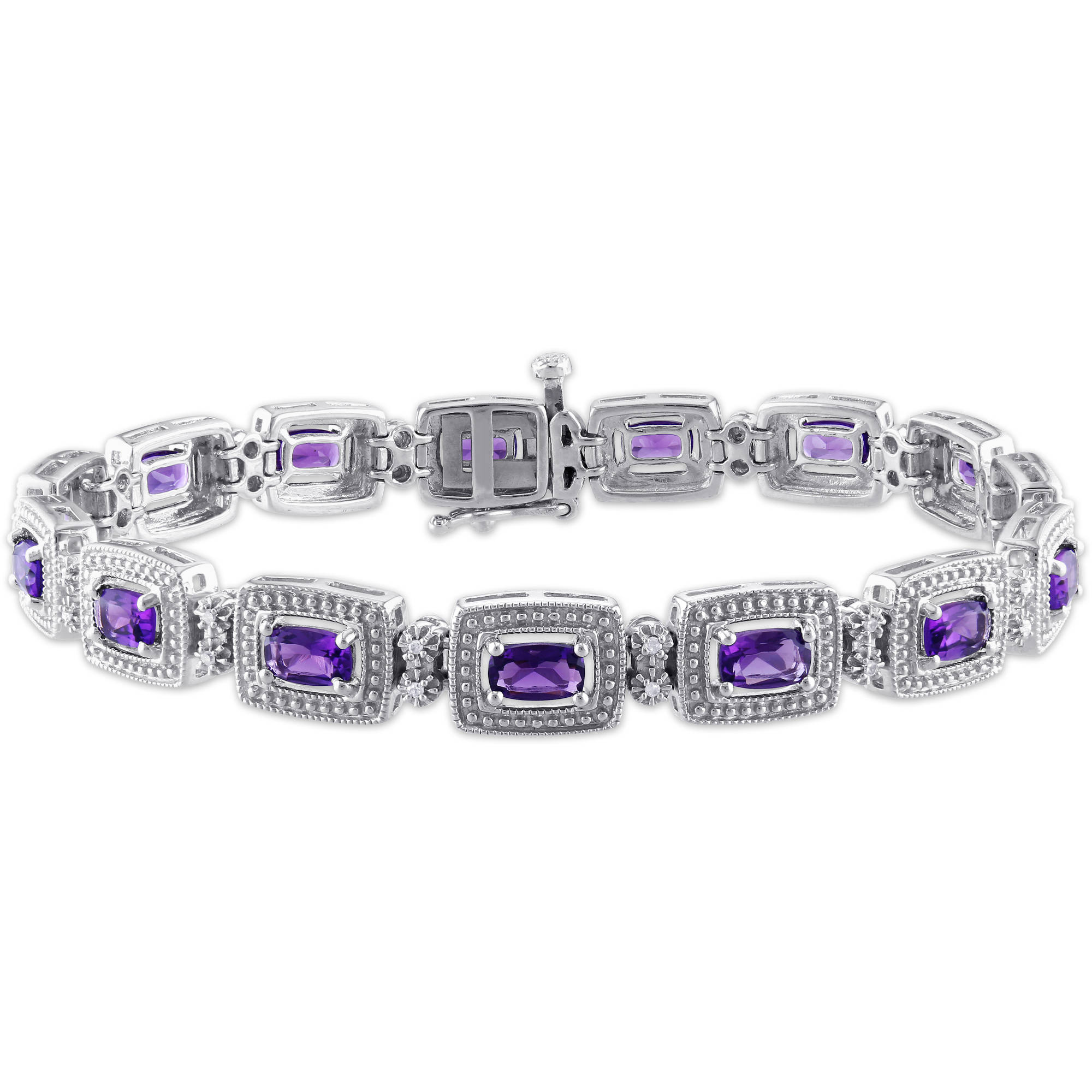 "3-3 4 Carat T.G.W. Amethyst and Diamond Accent Sterling Silver Bracelet, 7"" by Generic"