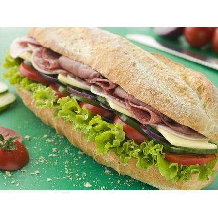 Wallmonkeys Deli Sub Sandwich On A Chopping Board Peel And Stick Wall Decals Mural Wm181870  36 In W X 27 In H