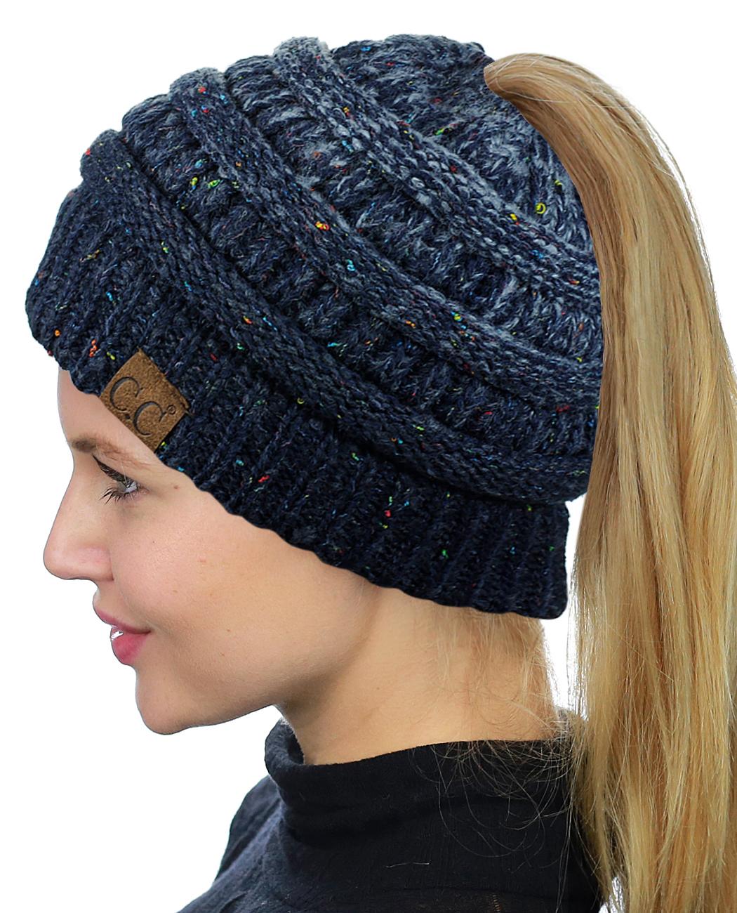 C.C BeanieTail Soft Stretch Cable Knit Messy High Bun Ponytail Beanie Hat 12db11abdb3