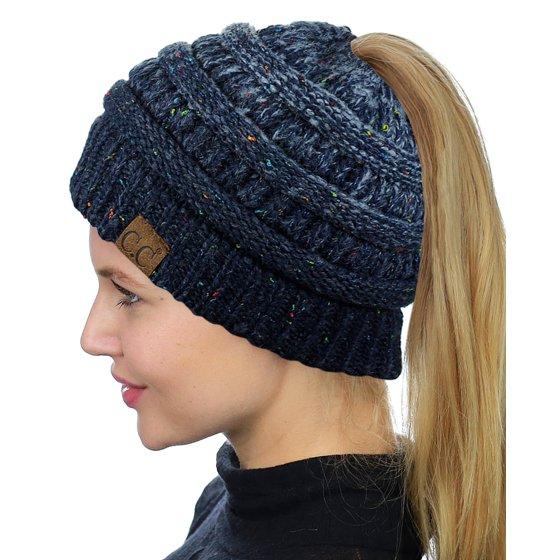 ad5e5993ef03c5 C.C BeanieTail Soft Stretch Cable Knit Messy High Bun Ponytail Beanie Hat,  Black - Walmart.com