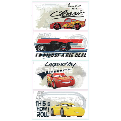York Wallcoverings RMK3464SCS RoomMates 4 Piece Cares 3 Racing Repositionable Peel and Stick Wall Decals