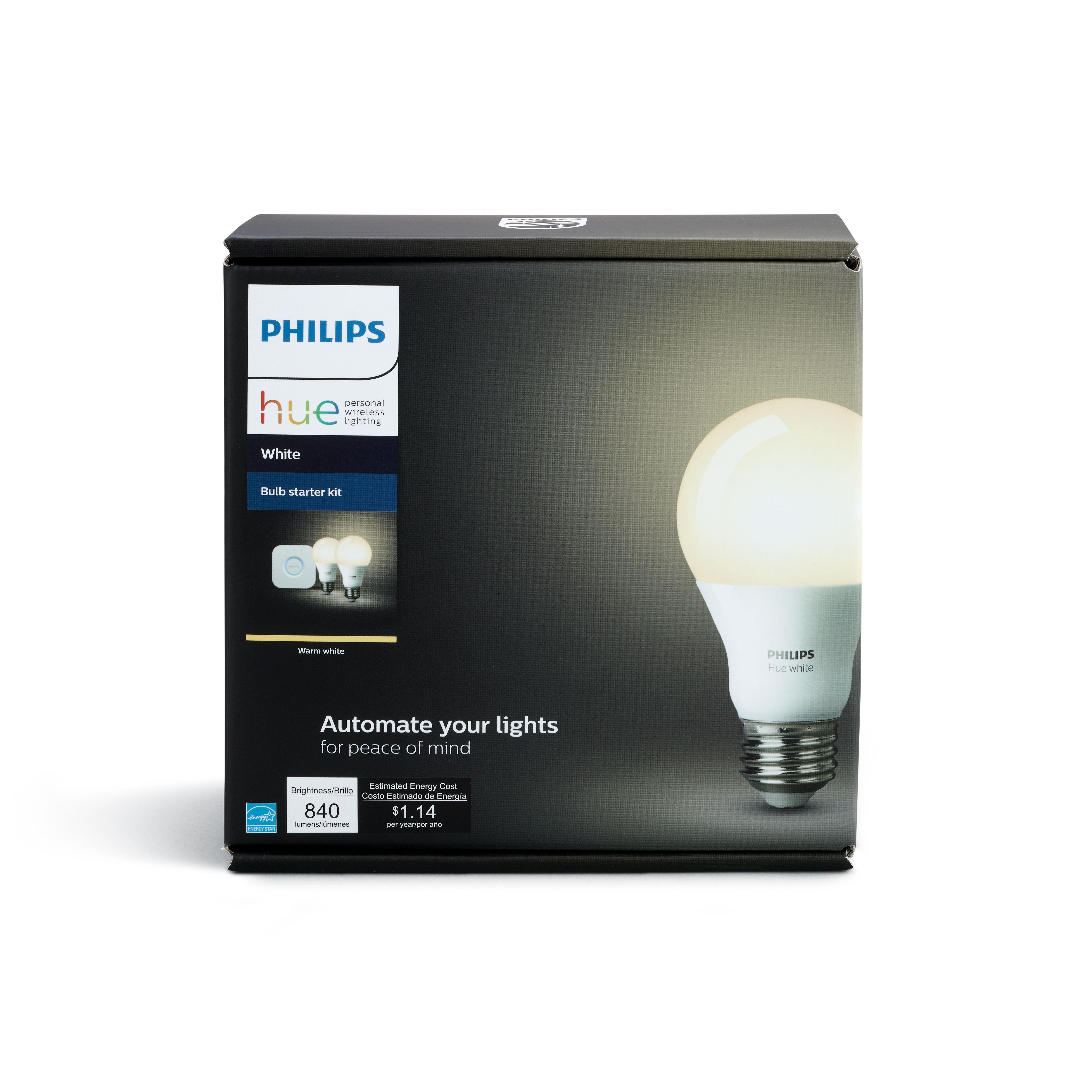 Philips Hue White A19 Smart Light Starter Kit, 60W LED, 2-Pack
