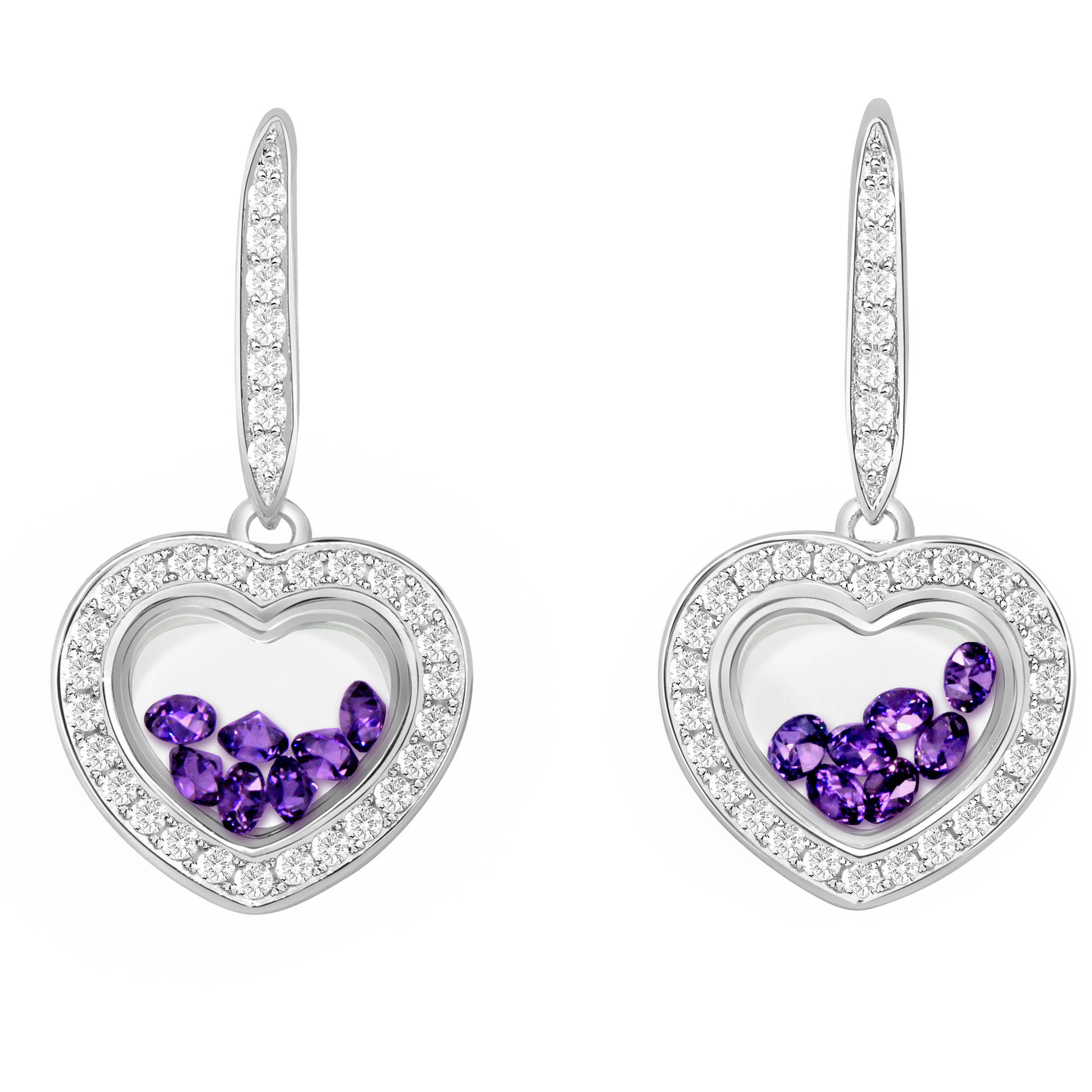 Chetan Collection Floating Violet CZ Sterling Silver Designer Heart-Shape Earrings