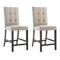CorLiving Bistro Dining Chairs, Platinum Sage Tufted Fabric, Set of 2