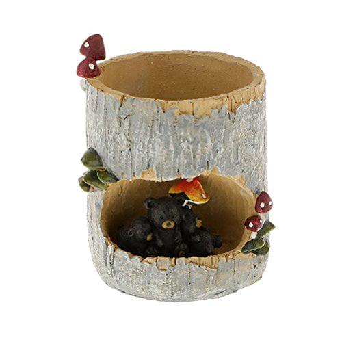 Tinksky Cute Black Bear Flower Sedum Succulent Pot Planter Bonsai Trough Box Plant Bed... by