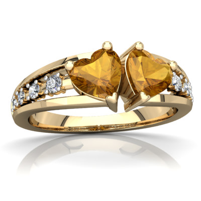 Citrine Heart to Heart Ring in 14K Yellow Gold by