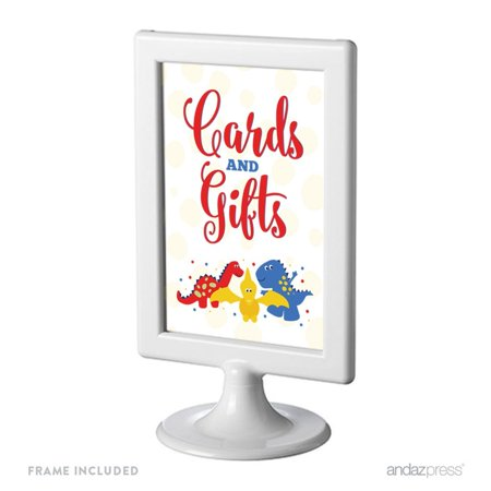 Birthday Framed Party Signs, Cards & Gifts, Red Blue and Yellow Dinosaur Party,  4x6-inch, Includes Frame