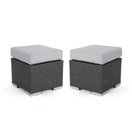 (Malibu Outdoor 16 Inch Wicker Ottoman Seat with Water Resistant Cushion, Set of 2, Grey and Silver)
