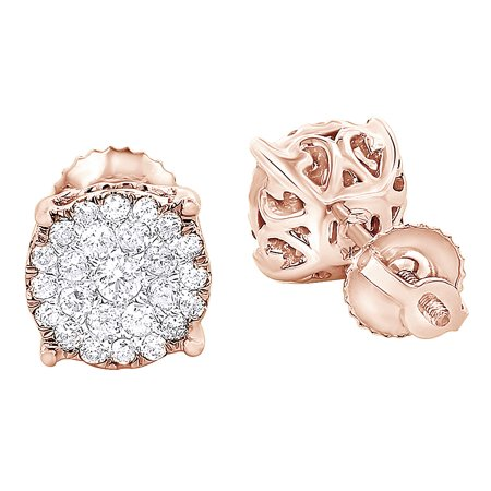 3f54d8153 Jewel Zone US - Round Cut White Natural Diamond Cluster Stud Earrings In 18K  Solid Rose Gold (0.56 Ct) - Walmart.com