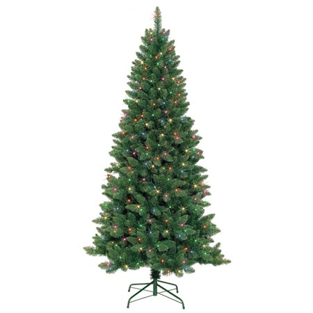 Jeco 7' Slim Pre-Lit Artificial Christmas Tree With Metal Stand ()