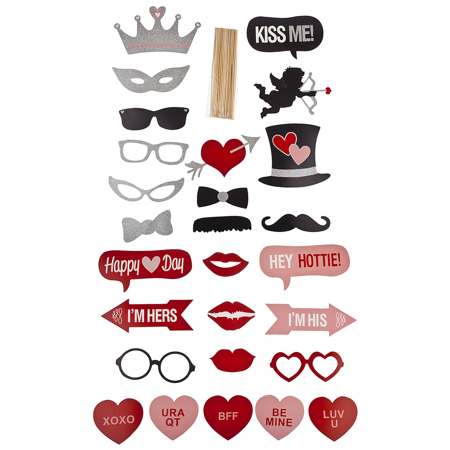 Lux Accessories Valentines Day Heart Red Photo Booth Prop Party Favors Photo Kit
