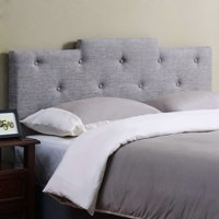 Mainstays Upholstered Tufted Squared Headboard, Full/Queen, Gray