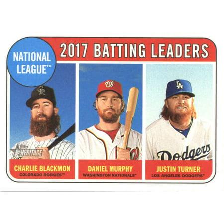 2018 Topps Heritage #2 Charlie Blackmon/Justin Turner/Daniel Murphy Colorado Rockies/Los Angeles Dodgers/Washington Nationals Baseball Card