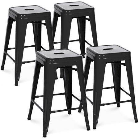 Best Choice Products 24in Set of 4 Indoor Outdoor Stackable Backless Counter Height Stools - Black ()