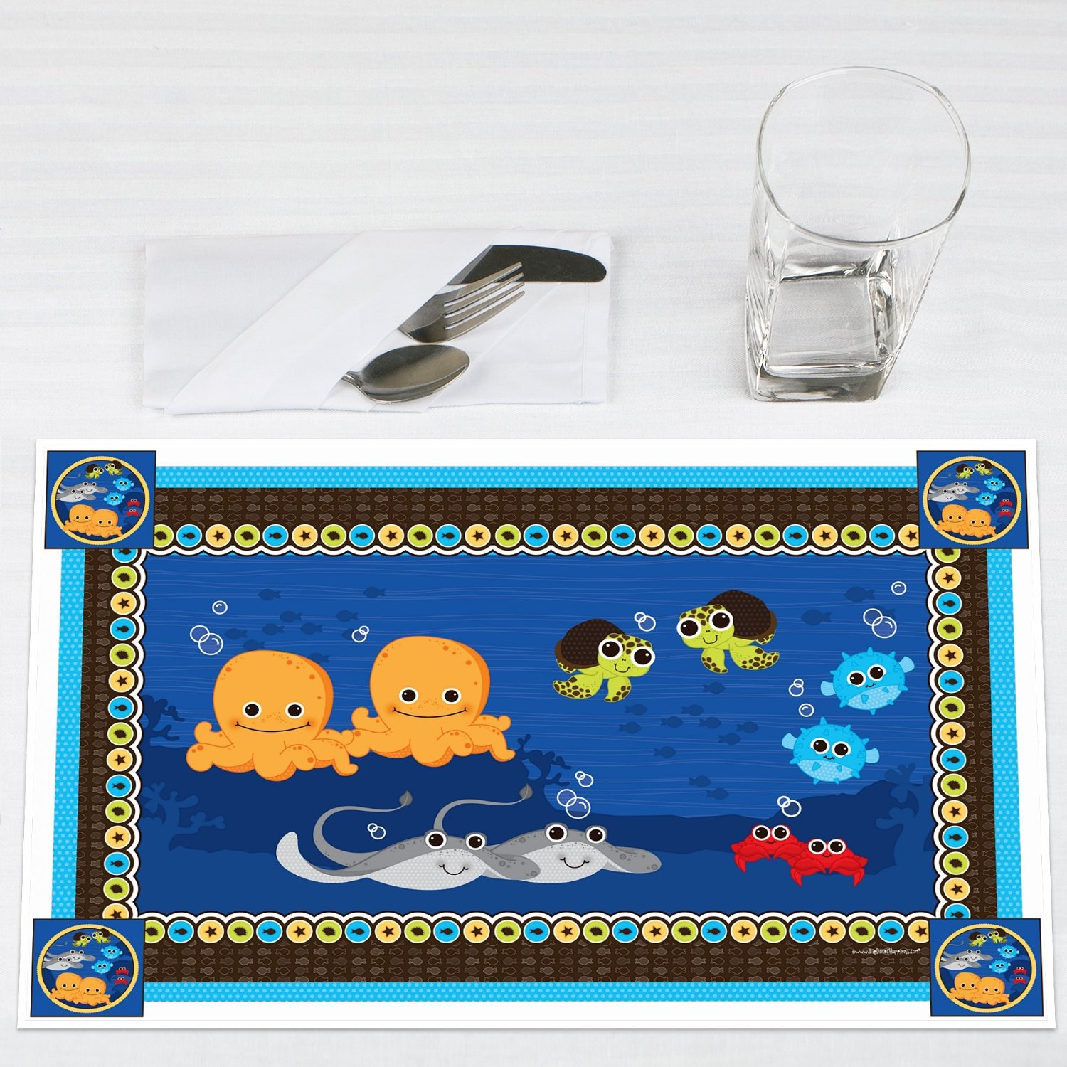 Twins Under The Sea Critters Party Placemats Set of 12 by Big Dot of Happiness, LLC