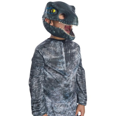 Jurassic World: Fallen Kingdom Velociraptor Movable Jaw Child Mask Halloween Costume Accessory (Halloween The Movie Mask Origin)