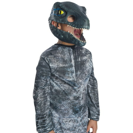 Jurassic World: Fallen Kingdom Velociraptor Movable Jaw Child Mask Halloween Costume Accessory](Quagmire Halloween Costume Mask)