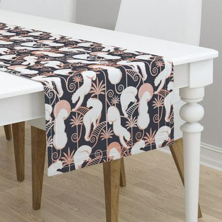 Table runner art deco large scale art nouveau panthers moon jungle cotton sateen - Deco table jungle ...