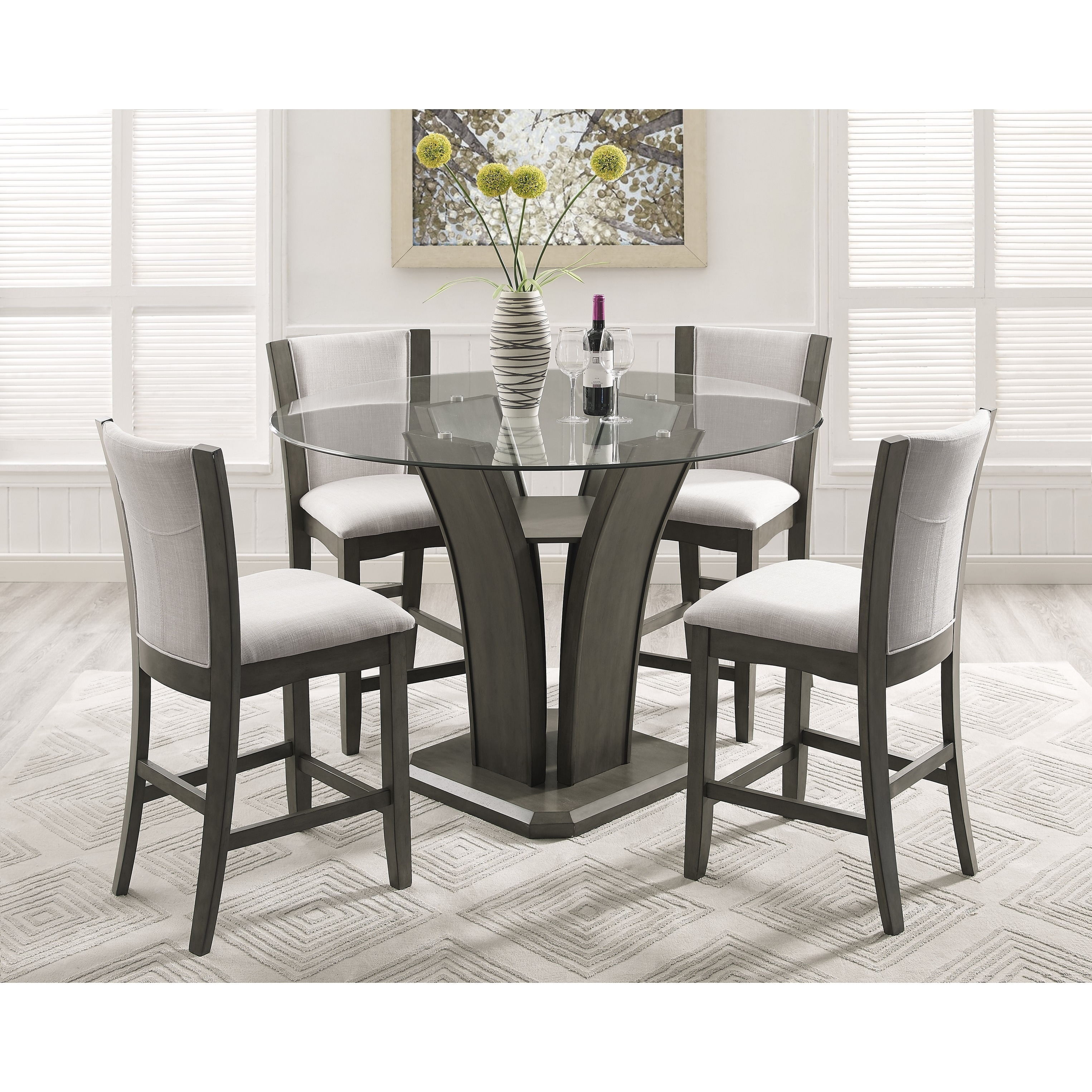 Roundhill Furniture Kecco 5 Piece Round Fabric Counter Height Dining Table Set