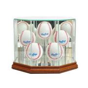 Perfect Cases 5BSB-W Octagon 5 Baseball Display Case, Walnut