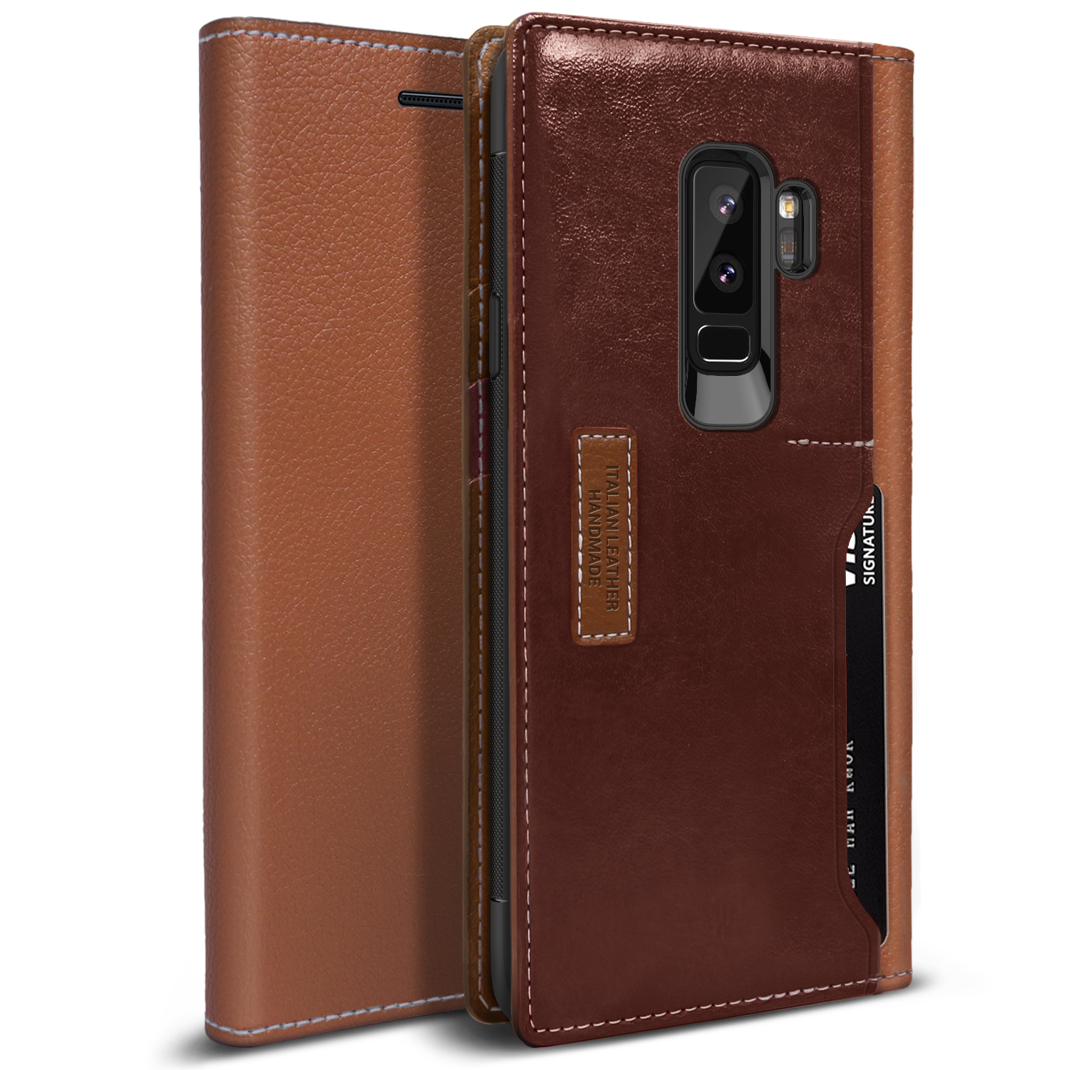 Galaxy S9 PLUS Case, OBLIQ [K3 Wallet][Brown Burgandy][PREMIUM LEATHER] Flip Cover with Four Credit Card & ID Pocket Slots Stylish Wallet Case (for Samsung Galaxy S9 PLUS) (2018)