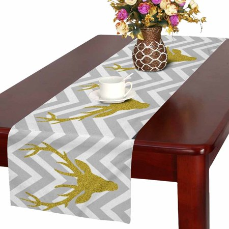 mkhert gold glitter deer head in gray and white chevron table runner home decor for kitchen. Black Bedroom Furniture Sets. Home Design Ideas