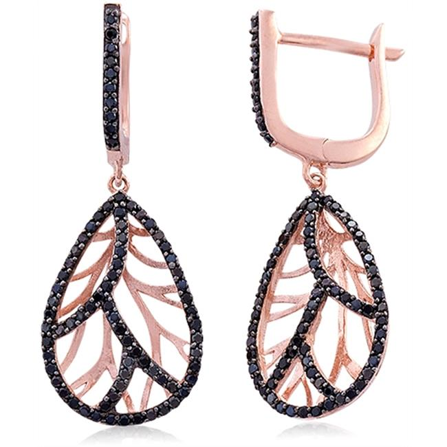 Doma Jewellery MAS00547 Sterling Silver Earrings with 3 Micron Rose Gold Plating & Black Cubic Zirconia